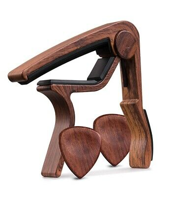 $ CDN12.03 • Buy Guitar Capo REAL WOOD PICKS INCLUDED (2) Set For Acoustic Guitar, Electric GS6F7