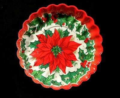 $ CDN7.19 • Buy Vintage Scalloped Edge Plastic Christmas Serving Dish With Red Poinsettia