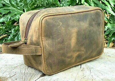 AU98.95 • Buy Genuine Vintage Leather Travel Toiletry Bag Organizer Men's Travel Accessories