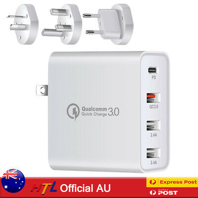 AU22.95 • Buy Fast Charging Charger QC3.0 48W PD USB Type C Hub Wall Plug Travel Adapter 4port