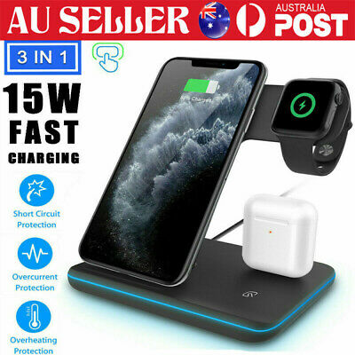 AU35.99 • Buy 3 In 1 Qi Wireless Charger Charging Dock Stand Station For IPhone Apple Watch