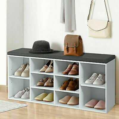 £55.49 • Buy Wooden Shoe Rack Bench Shoe Storage Cabinet Organizer Stand With Seat Cushion