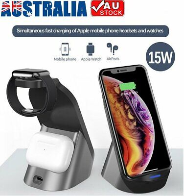 AU39.99 • Buy 15W 3in1 Qi Fast Wireless Charger For Apple Watch 5 4 3 2 Charging Dock Station