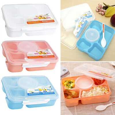 5 Compartments Lunch Box Food Container Set Bento Storage Boxes For Kids Adults • 8.59£