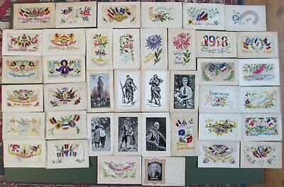 WW1 SILKS WOVEN EMBROIDERED Inc EDITH CAVELL PATRIOTIC FLAGS TO WIFE X 40 CARDS  • 132£