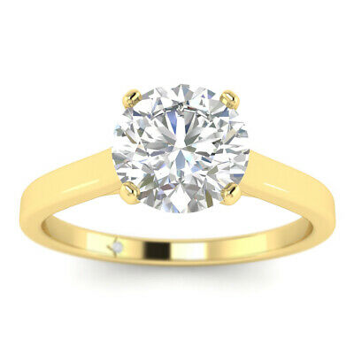 AU2490.26 • Buy 0.75ct D-VS2 Diamond V-Prong Engagement Ring 14K Yellow Gold ANY SIZE