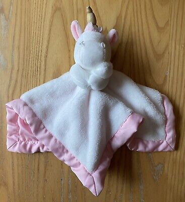 Carters Baby Girl Unicorn Pink Lovey Security Blanket White Pink Satin Gold Horn • 9.45£