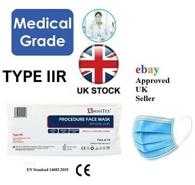 British Brand   Omnitex Type IIR 2R Medical Surgical Disposable Face Mask, CE  • 9.95£