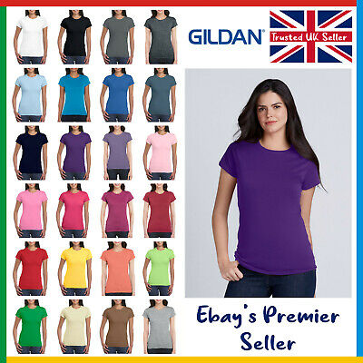 Ladies Plain T-Shirt • Gildan Softstyle Tee • Womens New Value Blank • Cotton • 2.25£