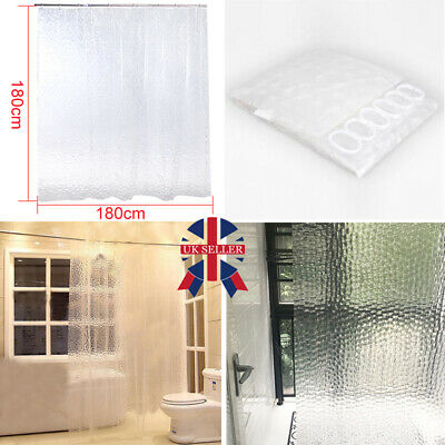3D Shower Curtain Square Design With 12 Hooks Waterproof Clear 180cm X 180cm W • 5.99£