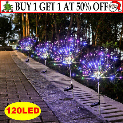2x 120LED Solar Powered Garden Path Firework Lights Starburst Stake Outdoor Lamp • 11.19£