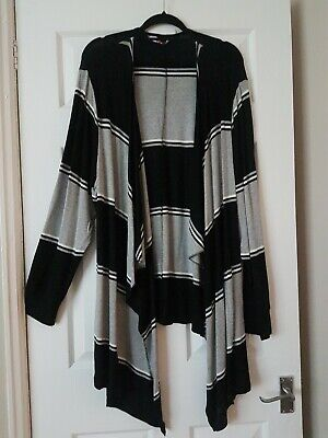 Ladies Your Long  Black/grey Waterfall Striped Casual Cardigan Size 22/24 • 4.20£