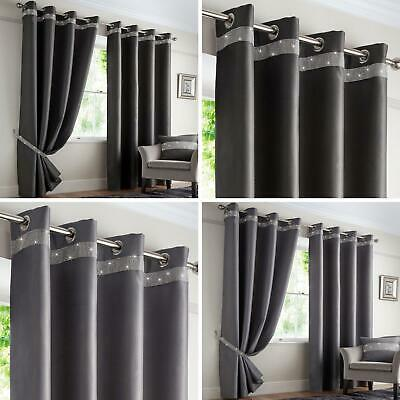 Grey Eyelet Curtains Blackout Diamante Sparkle Thermal Ring Top Curtain Pairs • 7.95£