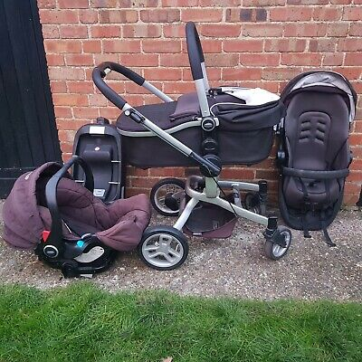 5 Pieces Graco Evo XT Travel System Pushchair Pram Car Seat Carrycot. • 80£