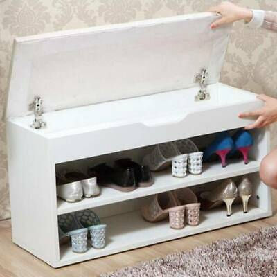 £46.74 • Buy White Shoe Cabinet Storage Bench Hallway Footwear Rack Shoes Stool With PU Seat