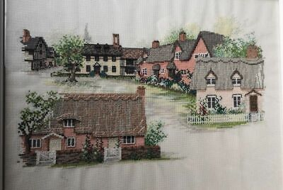 Cross Stitch Framed British Village Countryside Thatch Cottage Completed Finish • 119.95£