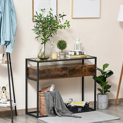 £47.99 • Buy Entryway Console Table Desk With Drawers, Toughened Glass Shelf, 3D Wood Grain