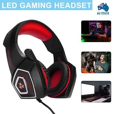 AU18.99 • Buy Gaming Headset MIC LED Headphones For PC Laptop PS4 PS5 Slim Pro Xbox One 3.5mm