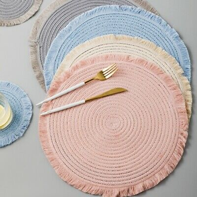 Set Of 4 36cm Big Table Place Mats Blush Pink Grey Round Fringed Lace Placemat • 14.93£