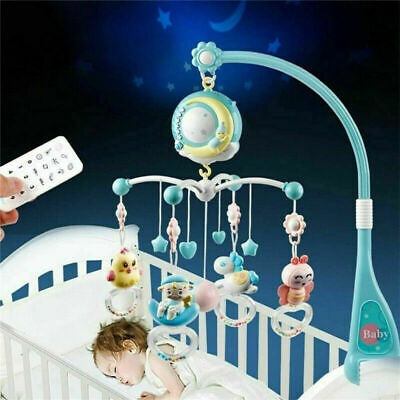 Baby Crib Mobile Musical Bed Bell With Controller Music Night Light Newborn Toy • 19.99£