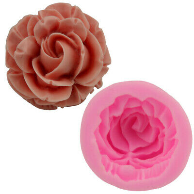 3D Rose Flower Shape Cake Fondant Mold Sugarcraft Wax Clay Soap Making Mould • 3.99£
