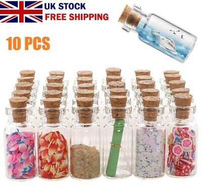 £3.99 • Buy 10 PACK 2ML Mini Tiny Empty Clear Glass Jars Bottles Vials With Cork Stoppers UK