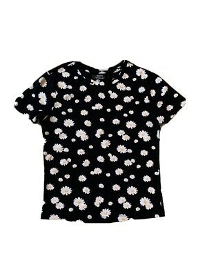 AU24.45 • Buy Bershka Black White  Daisies  Top USA Size M T-shirt  Teenage Top