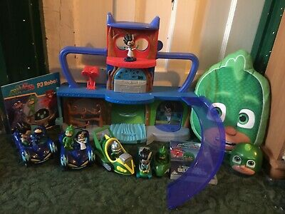 PJ Masks Bundle. Headquarters M, Figures, Vehicles. Book, DVD Cushion & Ball • 9.99£