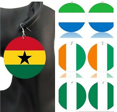 £5 • Buy  West Africa Countries Hand Painted Flags Wooden Dangle Earrings