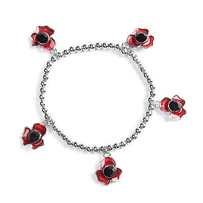 TJC Black Crystal Enamelled Station Poppy  Charm Bracelet 6.5  In Silver Plated • 7.99£
