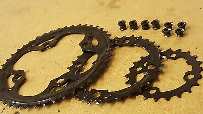 (Set Of 3) Chainrings + Bolts 8/9s (22+32+44) Mountain Bike  Shimano Compatible  • 19.99£