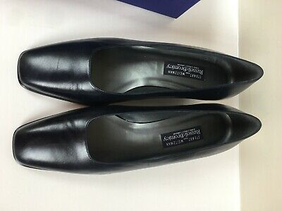 Stuart Weitzman For Russel Bromley New Navy Leather Mid Heel Shoes Size 11W • 70£
