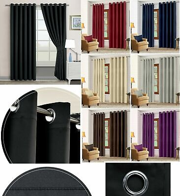 Hotel Quality Thermal Blackout Curtains Eyelet Ready Made Ring Top Curtain Pair • 17.99£