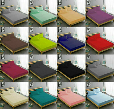 30cm Fitted Sheet 100% Egyptian Cotton Bed Sheets Single Double Super King Size • 8.99£