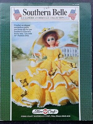 """£1.99 • Buy Fibre Craft Fcm200: Southern Belle, Crochet Gown To Fit 15"""" Fashion Doll"""