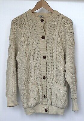 Vintage 80s Cable Knit Cardigan 100% British Wool Size Medium Leather Buttons • 33£