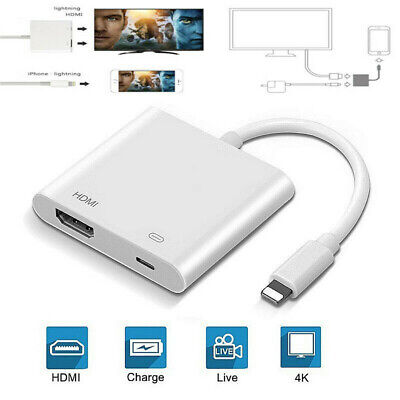 1080P 4K For IPhone To HDMI HD TV Projector Converter Adapter For Apple IOS IPad • 9.46£
