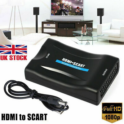 1080P HDMI To SCART Adapter Video Audio Converter USB Cable TV DVD PS3 SkyBox UK • 6.39£