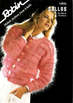 Knitting Pattern Lady's Round Neck Textured Cardigan 30 - 40  Robin Mohair 14816 • 2.75£
