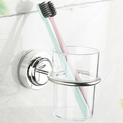 Bathroom Tumbler Suction Cup Toothbrush Holder Chrome Round Wall Mounted Stylish • 10.31£