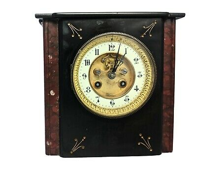 Antique French Black Slate And Red Marble Mantel Clock • 25£