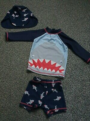 Baby Boys 9-12 Months Very Swim Suit 3 Piece Top Shorts & Hat UV • 4£