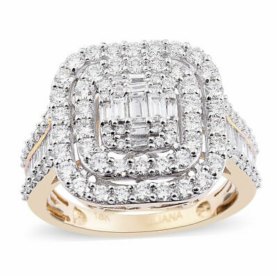 ILIANA 2 Ct White Diamond 18ct Yellow Gold Cocktail Cluster Ring (SI/GH) Size T • 1,888.99£