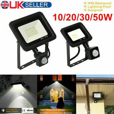 Outdoor LED Floodlight PIR Motion Sensor Garden Flood Security Lights Waterproof • 15.98£