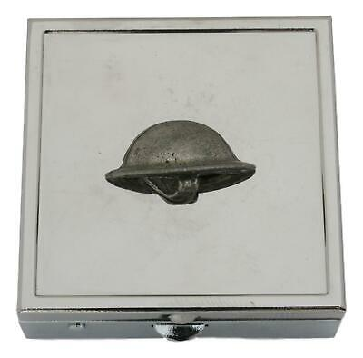 WW1 Soldier Helmet Square Pill Trinket Box Chrome With Mirror Gift 337 • 14.99£
