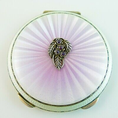 £349.99 • Buy Vintage Sterling Silver Compact Amthyst Sunburst Pearlescent Pink Guilloche 1962