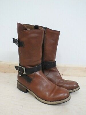Clarks Brown Tan Leather Boots Size 5 Buckle Detail (Hol) • 9.99£