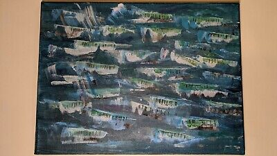 Original Abstract Acrylic Painting Canvas - MACKEREL IN A STORMY SEA • 22£