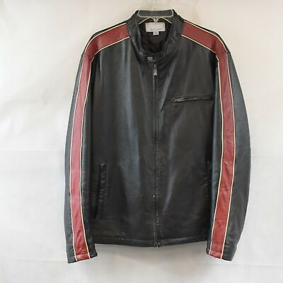 $69.99 • Buy Wilson Leather M. Julian Mens L Red Black Moto Jacket Preowned