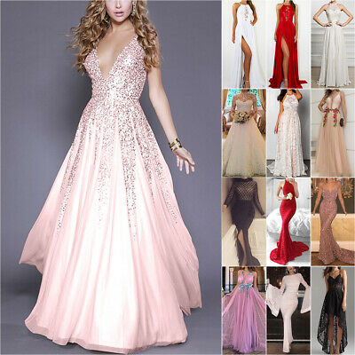 Women Bridesmaid Wedding Lace Maxi Dress Evening Party Cocktail Formal Gown Prom • 13.20£